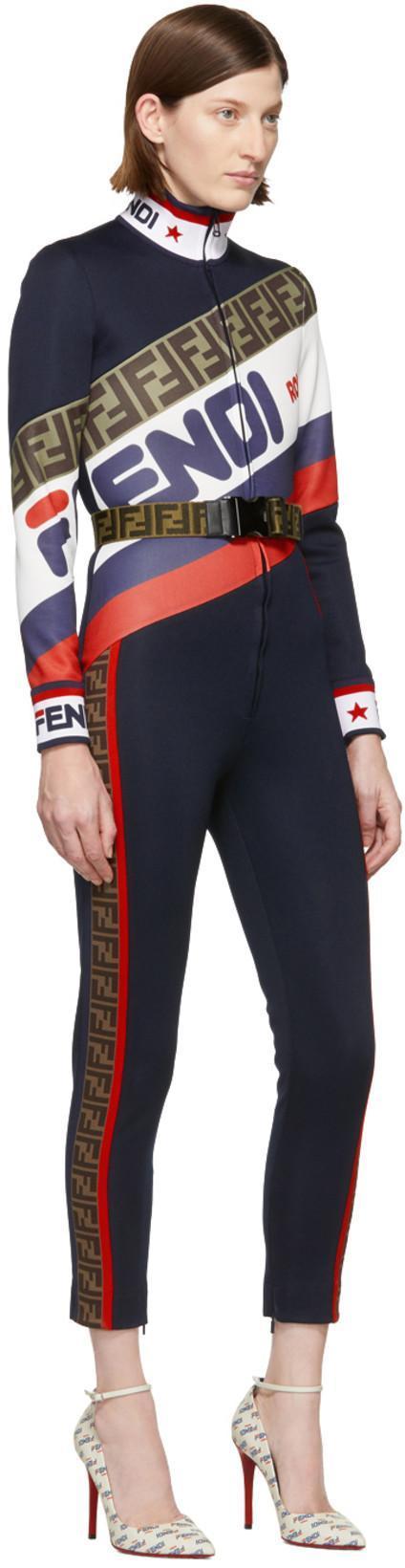 ce6132244a90 FENDI Fendi - Mania Logo Piqué Jersey Jumpsuit - Womens - Navy Multi