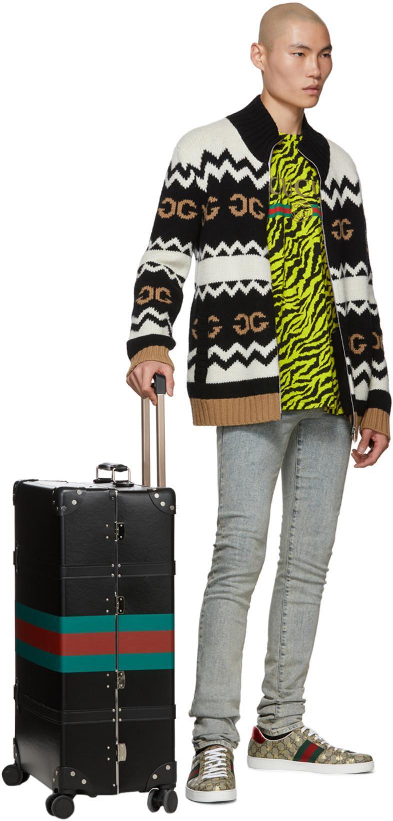 40b1f1a2e GUCCI Black Globe-Trotter Edition Web Carry-On Suitcase in Black Multi