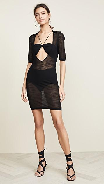 Jacquemus La Robe Piana Viscose Knit Mini Dress In Black  bac22b081