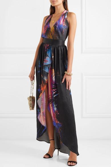 45d52af4 Balmain Tropical Print Halter Neck Belted Silk Maxi Dress In Black ...
