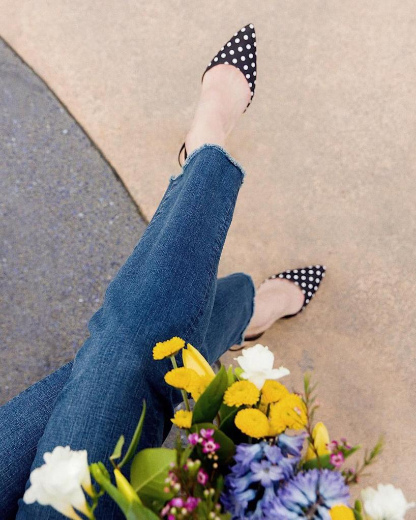 5bf74e41257 Ann Taylor Kerry Polka Dot Leather Slingback Pumps In Black