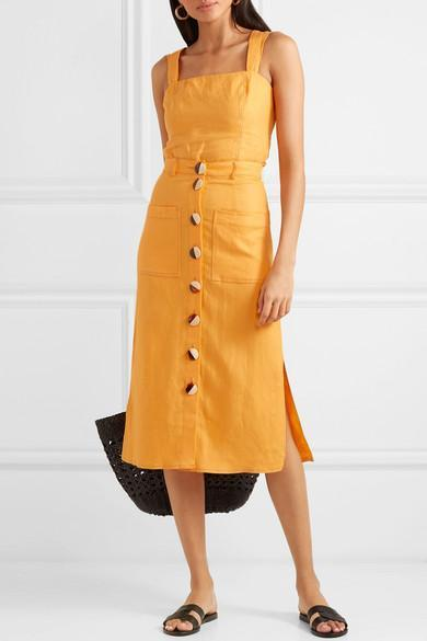 ebfce39d16b3 Nicholas Button-Embellished Linen Midi Skirt In Orange