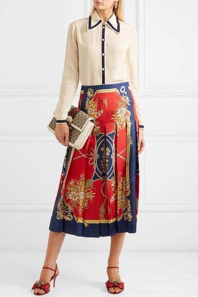 ce8afa0a35c0 GUCCI Queen Margaret Medium Leather-Trimmed Printed Coated-Canvas Shoulder  Bag in Beige