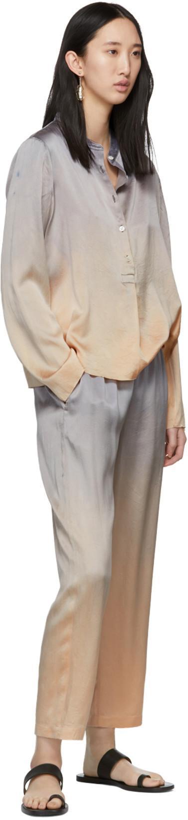 4801a4cce4695b RAQUEL ALLEGRA Raquel Allegra Silver Tie-Dye Silk Shirt in Silvertiedy