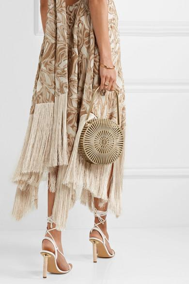 cf24e2ec CULT GAIA Ali Fringed Embroidered Fil Coupé Canvas Halterneck Maxi Dress in  Sand