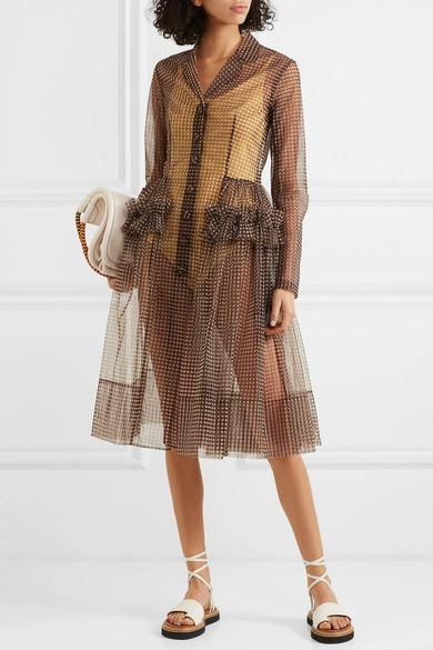 6df3c2cb144 Molly Goddard Tiffany Ruffled Gingham Tulle Coat In Brown | ModeSens