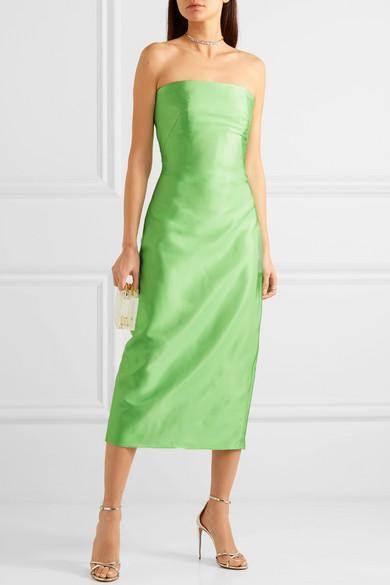 b841f214463 Brandon Maxwell Strapless Satin-Gazar Midi Dress