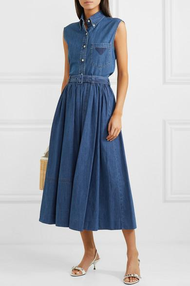 762a7500d77 Prada Sleeveless Vintage Button-Down Denim Top In Blue