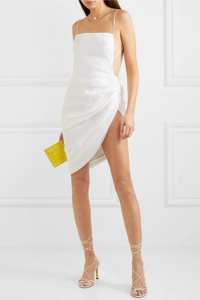 8a799c058ac52 Jacquemus Open-Back Gathered Linen-Blend Mini Dress In White   ModeSens