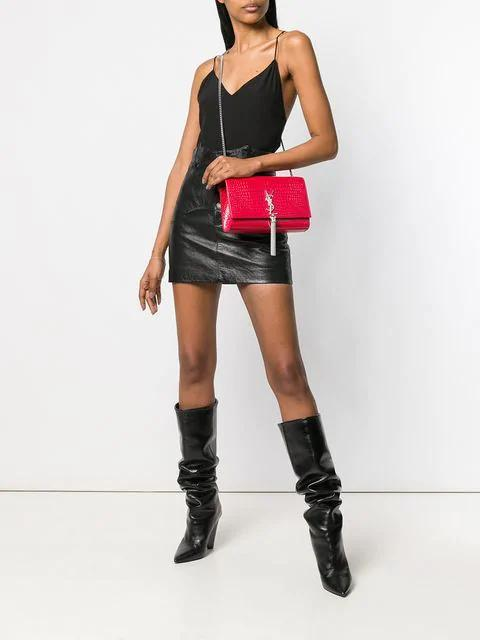 53b45d33e2 Saint Laurent Western-Style Skirt In Antiqued Leather In Black ...