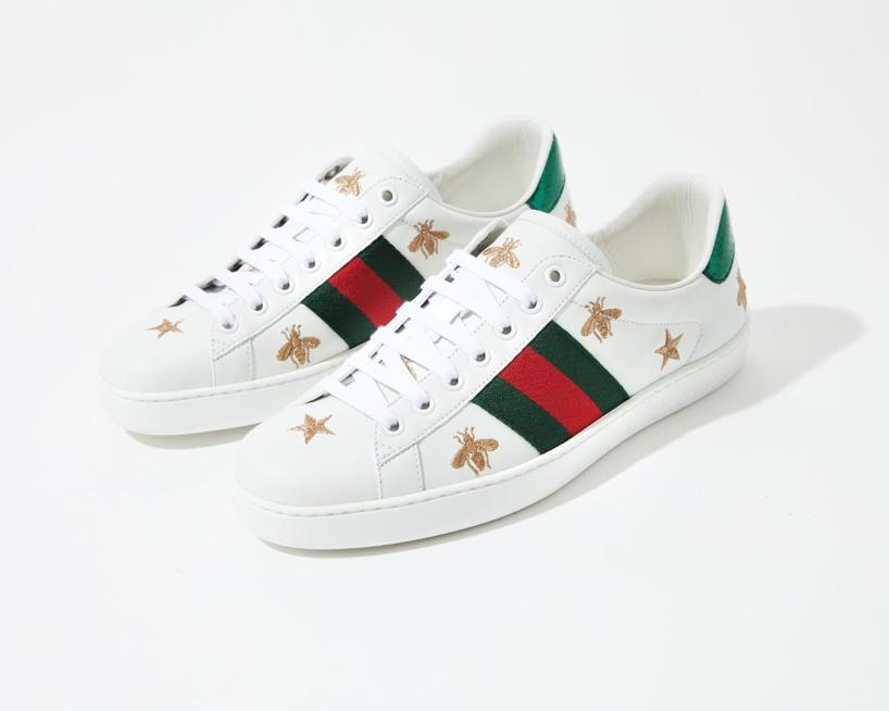 ed43fc3ba Gucci Bee And Star-Embroidered Low-Top Leather Trainers In White ...