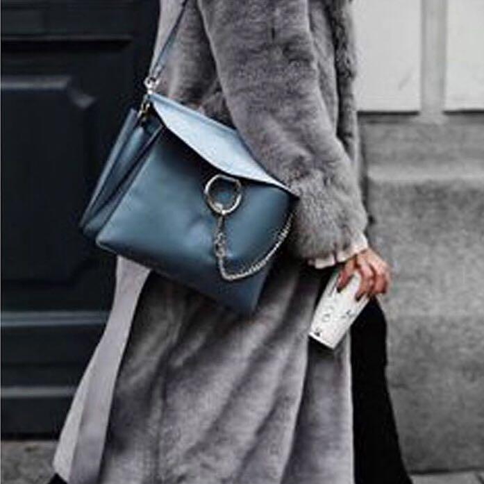 ea4f517514 ChloÉ Faye Medium Leather And Suede Shoulder Bag In Stone-Blue ...