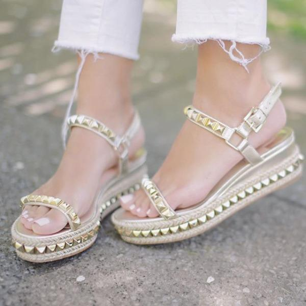 9b36f631bc26 CHRISTIAN LOUBOUTIN Cataclou 60 Embellished Patent-Leather Wedge Espadrille  Sandals in Gold